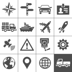 Transportation icons set. Simplus series