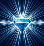 Blue diamond on bright background. Vector