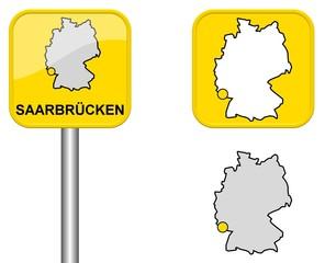 Saarbrücken - Ortsschild, Button und Deutschlandkarte