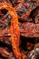 Close up view of dried chilly