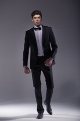 Elegant  young model wearing suit
