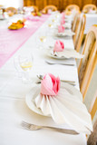 Formal table with napkins ready for meal serving