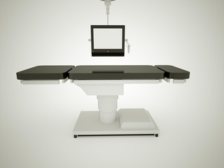 Operating table with monitor black and white