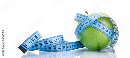 Dieting concept green apple