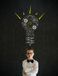 Thinking boy business man with bright idea gear cog lightbulb