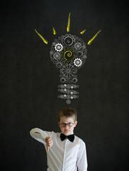 Thumbs down boy businessman bright idea gear cog lightbulb