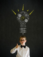 Thumbs up boy business man with bright idea gear cog lightbulb