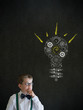 Thinking boy businessman with bright idea gear cog lightbulb