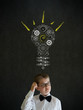 Scratching head thinking boy businessman idea gear cog lightbulb