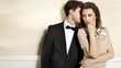 Sensual young couple in elegant clothes