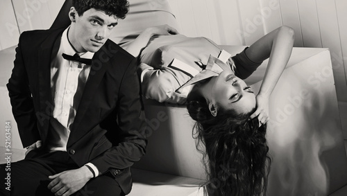 Black-white photo of attractive couple
