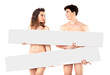 Nude attractive couple with empty boards