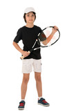 portrait of a handsome boy with a tennis racket isolated on whit