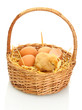 beautiful little chicken, eggshell and eggs in basket isolated