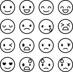表情のシンプルなアイコン