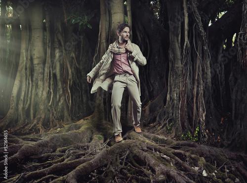 Elegant man on nature background