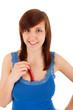 Die junge Frau mit einer scharfen Schote