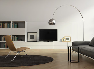 Contemporary tv wall furniture, living room with wood floor