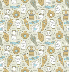 Ceramic seamless pattern. Greek style background.