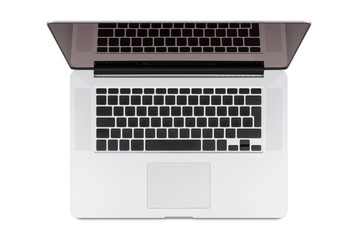 Top view of modern retina laptop.