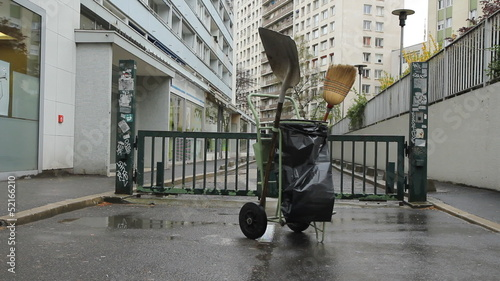 One-man street cleaning unit. Paris.