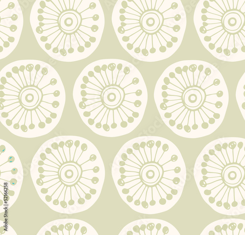 Poster Fabric texture with decorative flowers