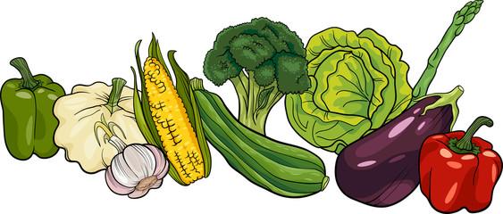 vegetables big group cartoon illustration