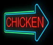 Neon chicken sign.