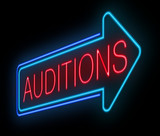 Neon auditions sign.
