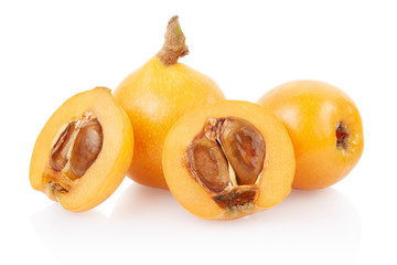 Loquat group on white, clipping path included