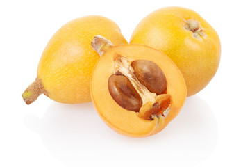 Loquat and section on white, clipping path
