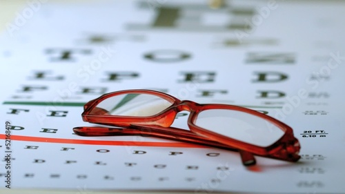 Reading glasses falling onto eye test