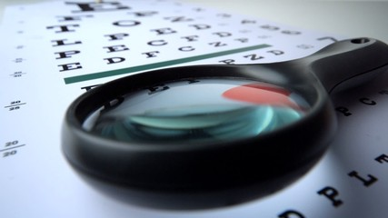 Magnifying glass falling over on eye test close up