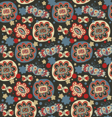Embroidery. Decorative seamless floral pattern.