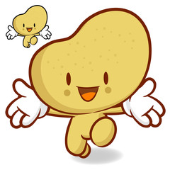 Potato character on Running. Vegetable Character Design Series.