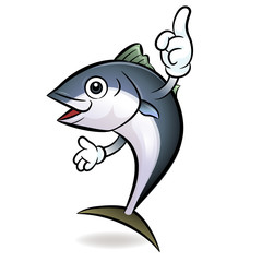 Cooks Tuna mascot the direction of pointing with both hands. Sco