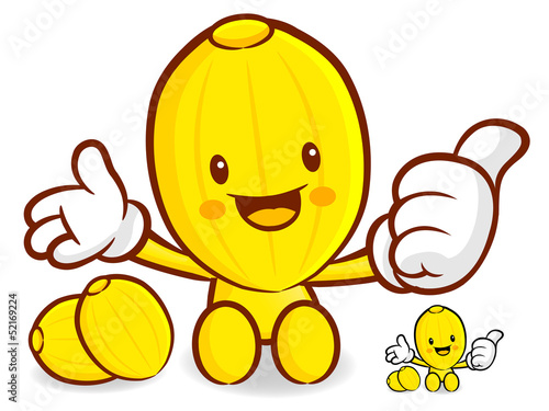 Oriental melon Mascot the left hand best gesture and the right h