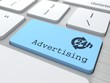 Business Concept - The Blue Advertising Button.