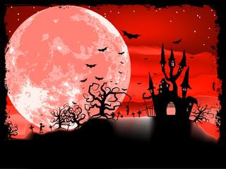 Spooky Halloween with horror house. EPS 8