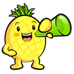 Pineapple Mascot the  Left hand is holding a loudspeaker. Fruit