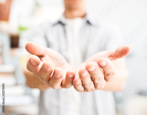 Man holding something in his hands