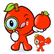 Apple mascot examine a with a magnifying glass. Fruit Character
