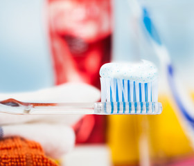 Closeup of a toothbrush with dental paste