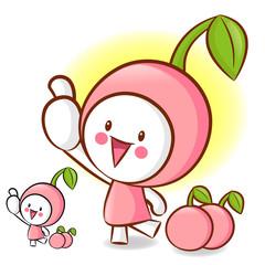Cherry Mascot the Left hand best gesture. Fruit Character Design