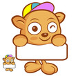 The Tarsier Mascot holding a big board with both hands. Animal C
