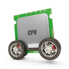 Modern CPU on Wheels isolated on white background