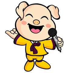 Have happy singing pig mascot. Animal Character Design Series.