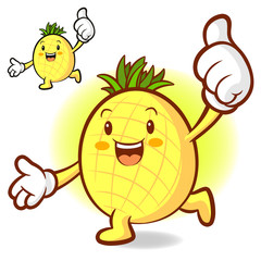 Pineapple Mascot the right hand best gesture and the left hand g