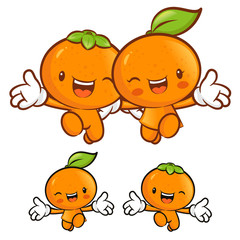 Tangerine and orange character couples on Running. Fruit Charact