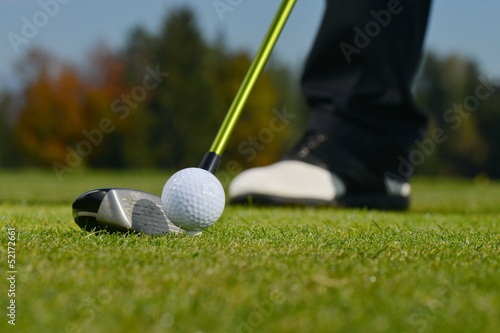 Golf Ball and Club, Man playing golf